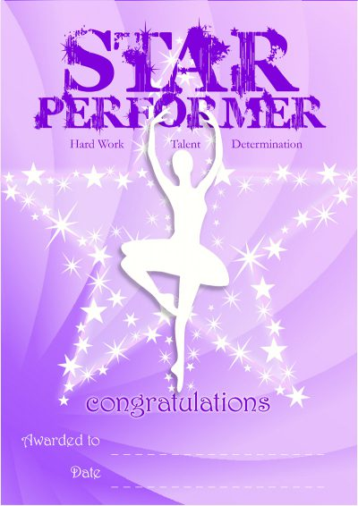 star performer recognition certificate dance desire dance store